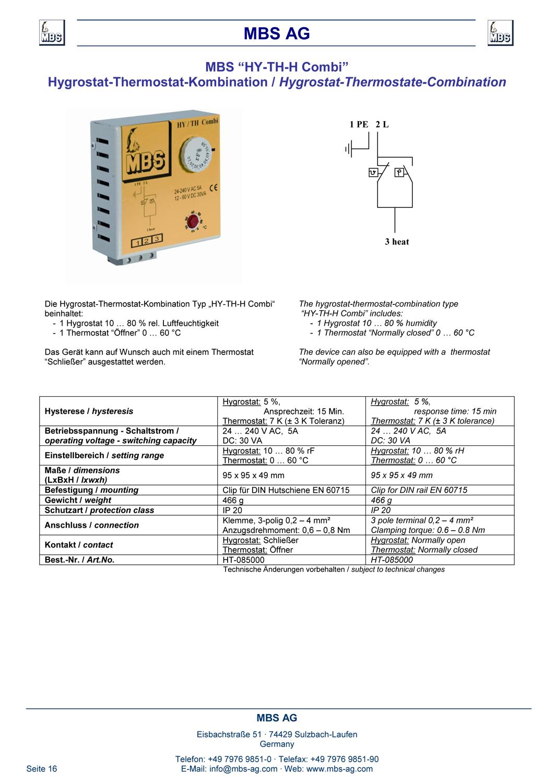 Produktinformation Hygristat Thermostat Kombi