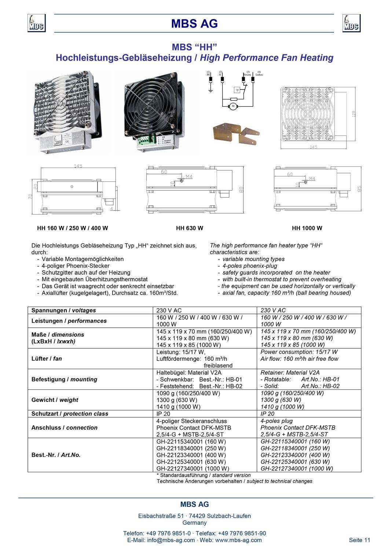 Produktinformation Gebläse Heizung HH