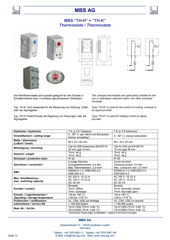Produktinformation Thermostat Oeffner + Schliesser
