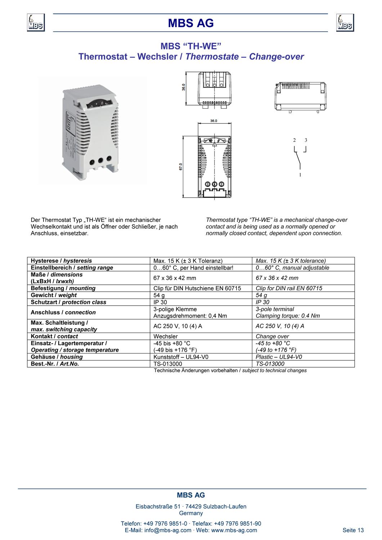 Produktinformation Thermostat Wechsler