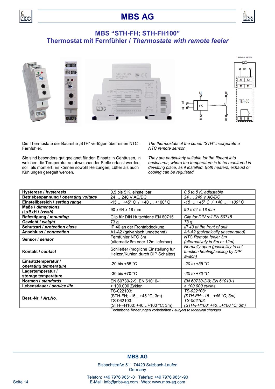 Produktinformation Thermostat mit Fernfuehler